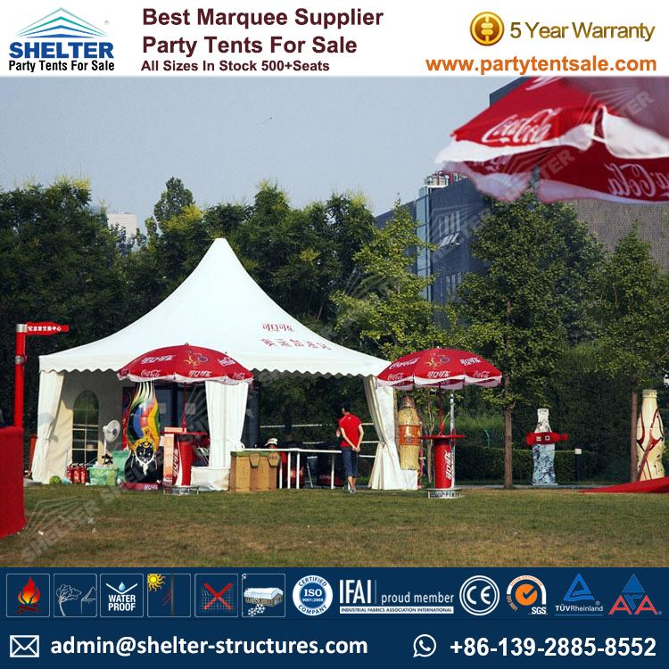 High Peak Marquee-Outdoor Gazebo Canopy Tents-Shelter Tent-171 & Pagoda Tent 5x5m For Coca Cola Branding - Commercial Tent