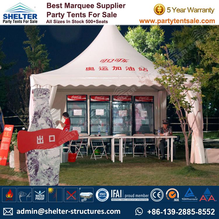 High Peak Marquee-Outdoor Gazebo Canopy Tents-Shelter Tent-166 & Pagoda Tent 5x5m For Coca Cola Branding - Commercial Tent