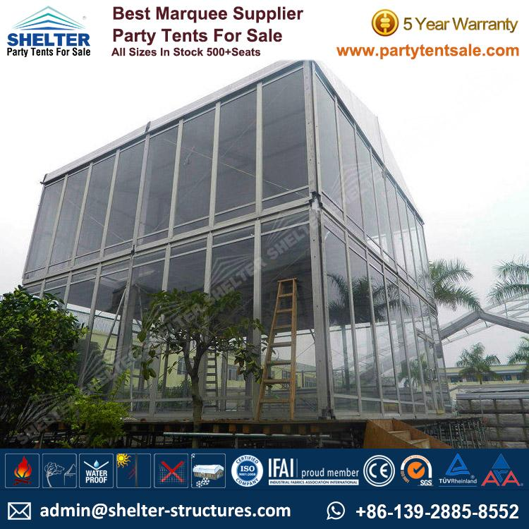 Double-Decker-Tent-Two-Story-Tents-Commercial-Tents- & Two Story Tents 15×15m Used As Meeting Room Conference
