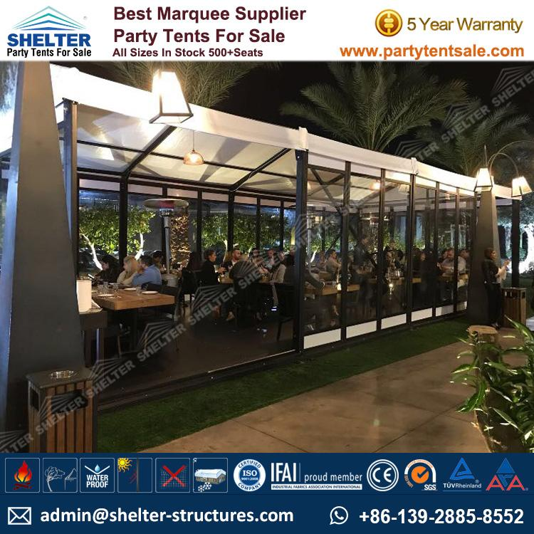 Small Marquee Tent - Shelter Party Tent Sale - Event Marquee with Glass Sidewalls and Cassette Floor - Event Tent Sale - Temporary Event Structure (2)