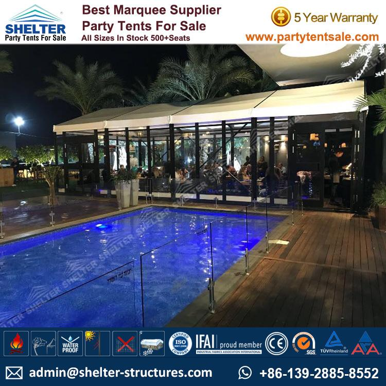 Small Marquee Tent - Shelter Party Tent Sale - Event Marquee with Glass Sidewalls and Cassette Floor - Event Tent Sale - Temporary Event Structure (3)