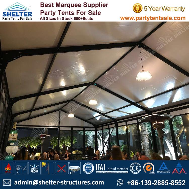 Small Marquee Tent - Shelter Party Tent Sale - Event Marquee with Glass Sidewalls and Cassette Floor - Event Tent Sale - Temporary Event Structure (4)