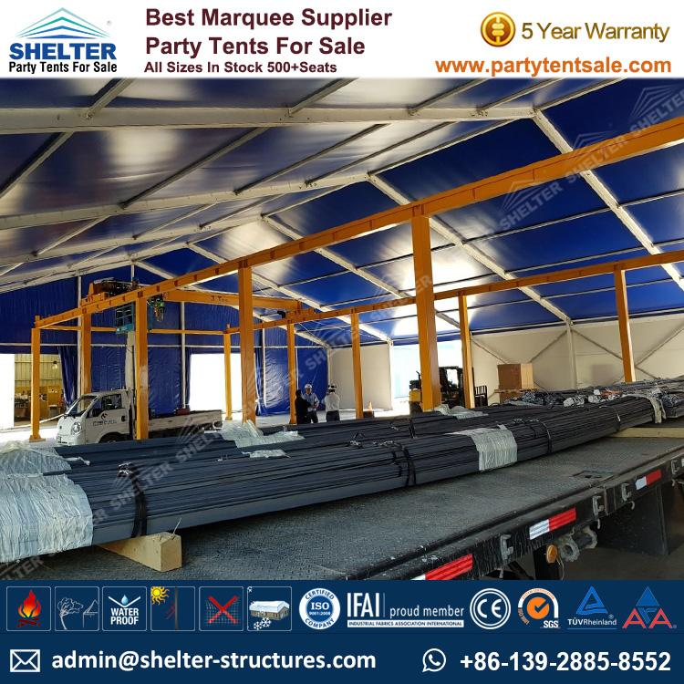 Logistics Warehouse Solution with 25x30m Frame Marquee - Shelter Party Tent Sale - Warehouse Tent - Storage Tent - Tent for Storage - Temporary Structure - 25x30 Warehouse Structure (1)